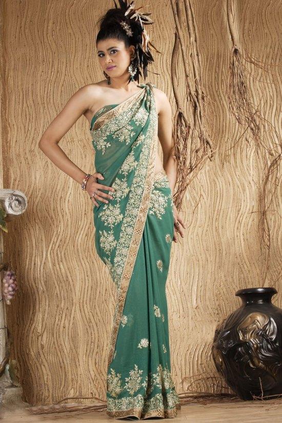 Pine Green Shimmer Georgette Embroidered Wedding Saree