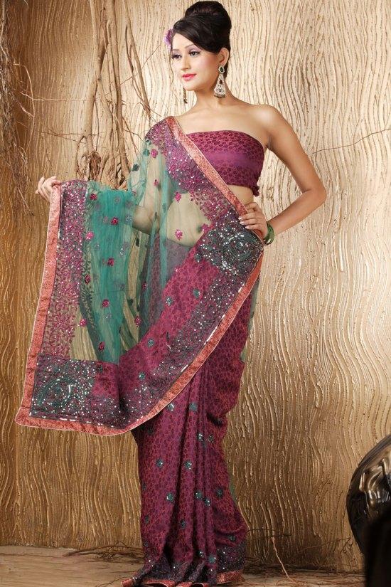 Purple and Green Jacquard Crepe Embroidered Wedding Saree