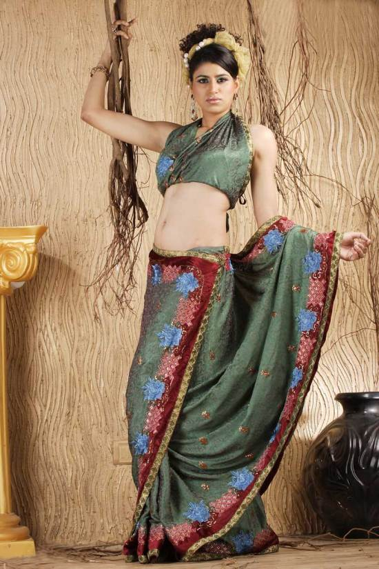 Camouflage Green Crepe Embroidered Wedding Saree