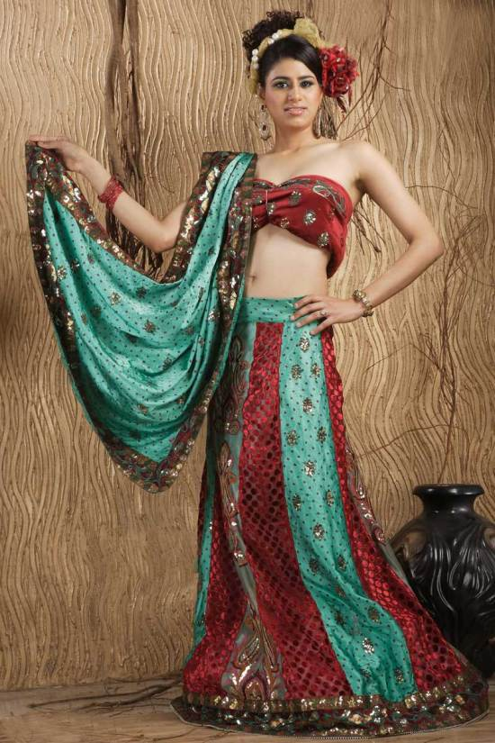 Persian Green and Cerise Red Art Crepe Embroidered Wedding lehenga