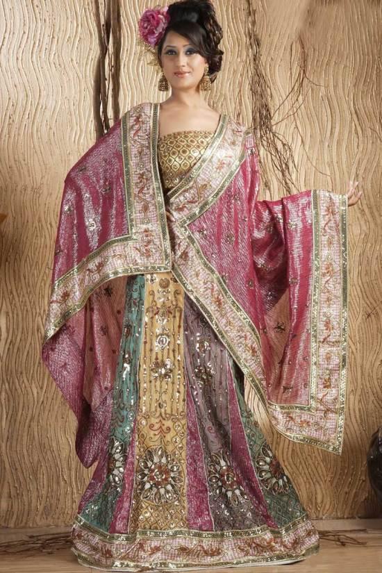 Deep Pink Shimmer Georgette Embroidered Wedding Lehenga