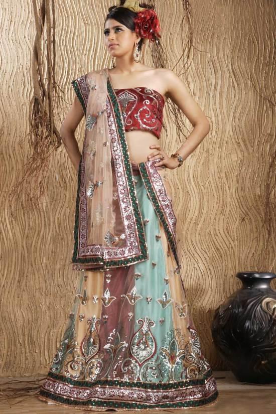 Tri Color Net Embroidered Wedding Lehenga