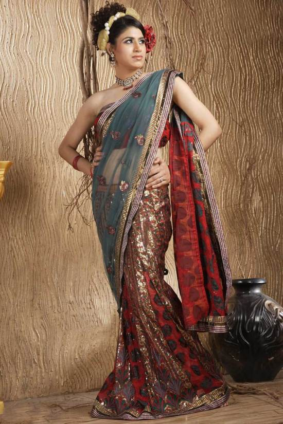Red and Gray Brasso Embroidered Wedding Lehenga style Saree