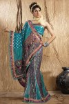 Bondi Blue Net Embroidered Wedding Lehenga-style Saree