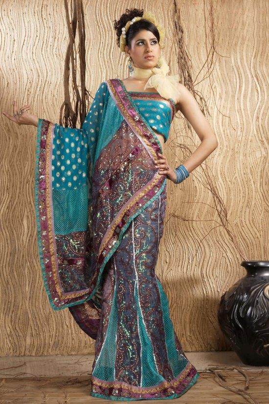 Bondi Blue Net Embroidered Wedding Lehenga-style Saree