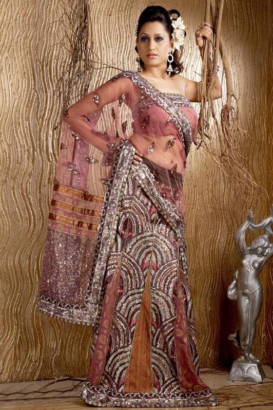Pink and Net Lehenga Style Saree
