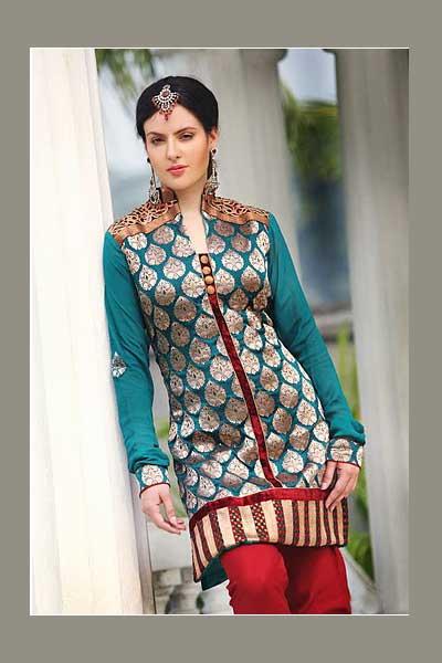 Heavy Embroidered Shalwar Kameez in Bondi Blue Color