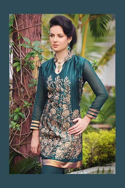 Lovely Cerulean Blue Georgette Heavily Embroidered Salwar Kameez