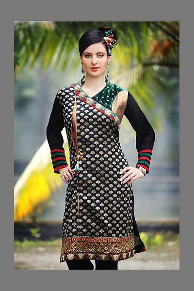 Crepe and Black color Embroidered Shalwar Suit