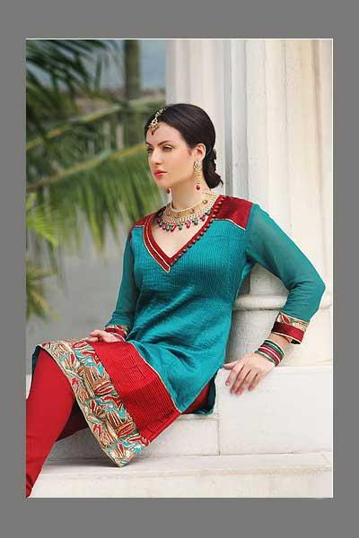 Embroidered Steel Blue Crepe Shalwar Kameej