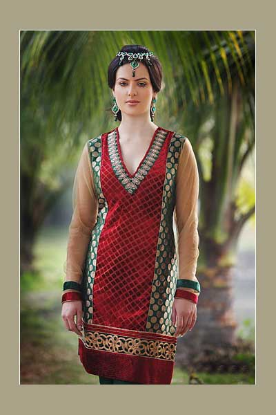 Wedding Salwar kameez in maroon and green color with crepe fabric