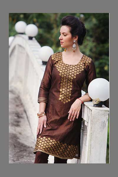 Shalwar Kameez for wedding in Bole Brown color in crepe fabric