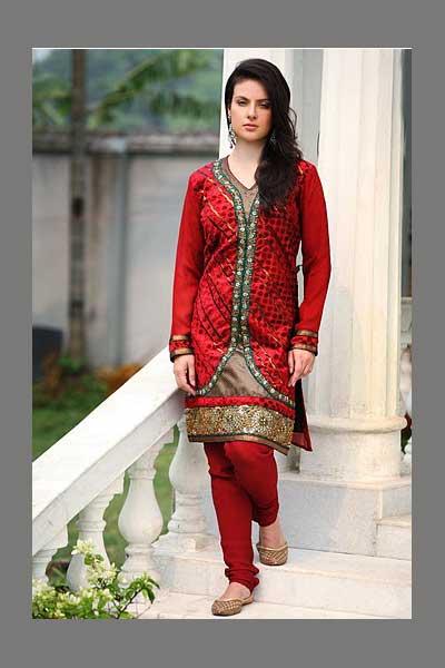 Red Embroidered Wedding Wear heavy churidar kameez