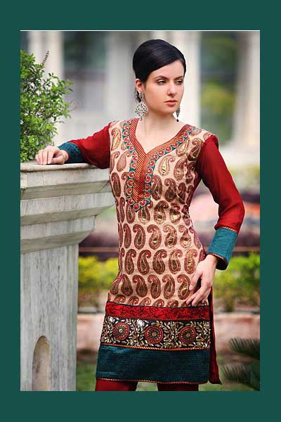 Wedding wear churidar suit in red and beige color