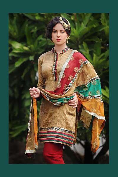 High Neck Churidar Kameez with matching dupatta