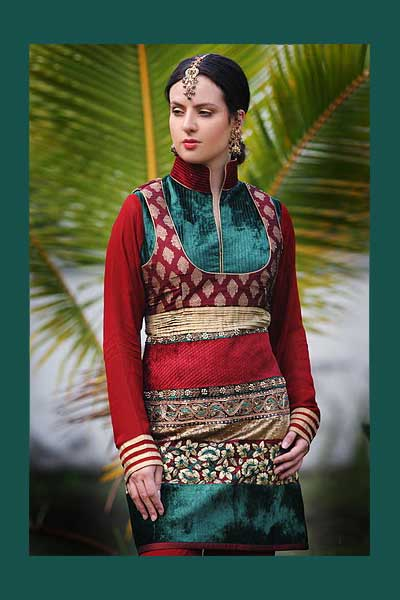 Full sleeves Shalwar Kameej in red color with heavy embroidery work