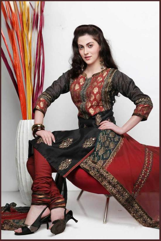 Maroon and Black Cotton embroidered Party Salwar Kameez