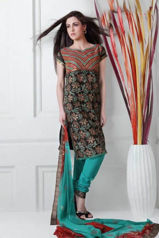 Black and Bondi Blue Cotton embroidered Party Salwar Kameez