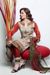 Beige and Maroon Cotton embroidered Party Salwar Kameez