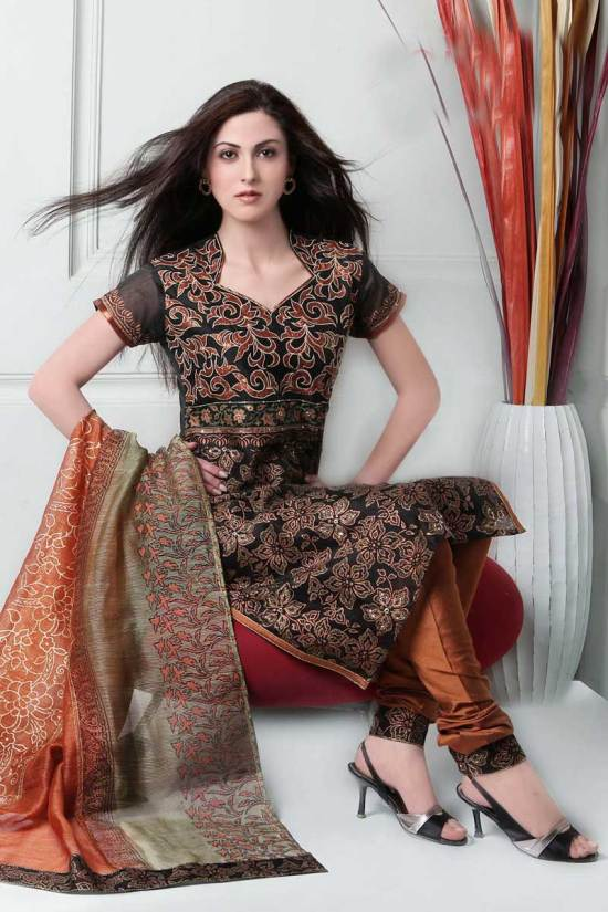 Black and Copper Brown Cotton embroidered Party Salwar Kameez