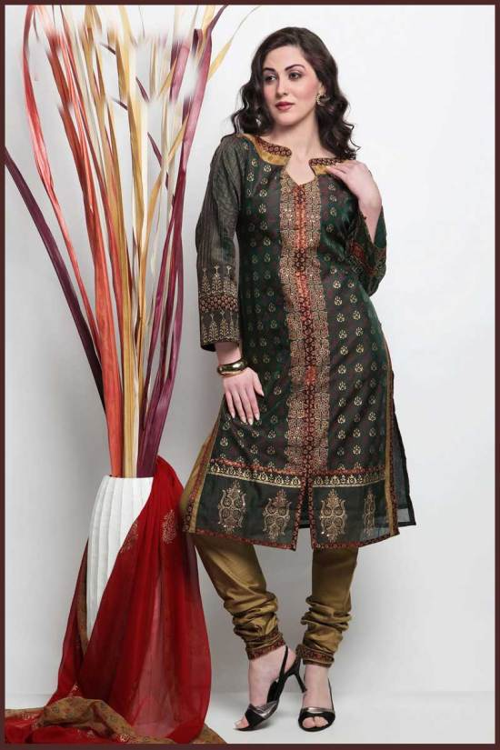 Midnight and Olive Green Cotton embroidered Party Salwar Kameez