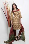 Wheat brown and red Cotton embroidered Party Salwar Kameez