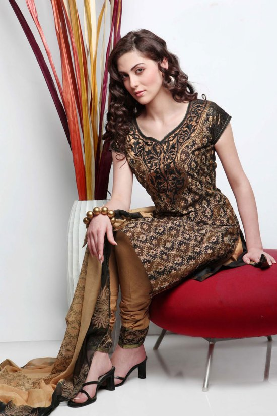 Copper Brown Cotton embroidered Party Salwar Kameez