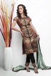 Brown Cotton embroidered Party Salwar Kameez