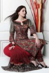 Deep Green and Maroon Cotton embroidered Party Salwar Kameez