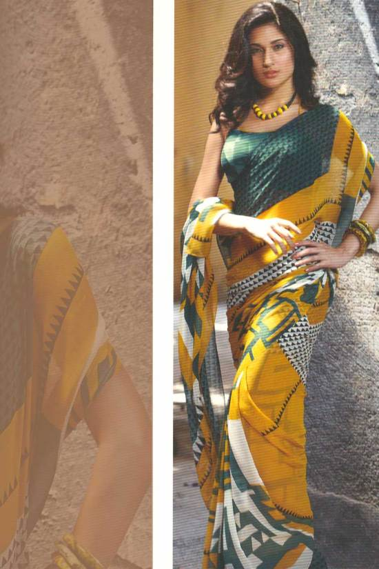 Abstract Printed Saree in yellow color