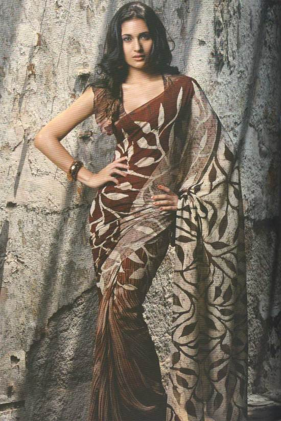 Printed pure georgette saree in russet brown color