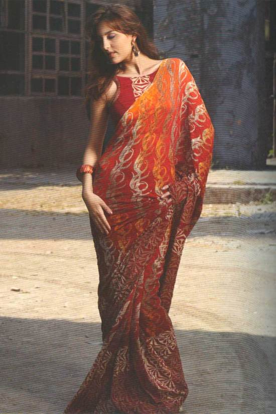 Pure georgette printed saree in cerise red color
