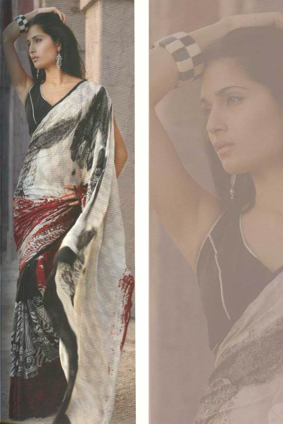 Digital printed pure georgette saree in black and white color