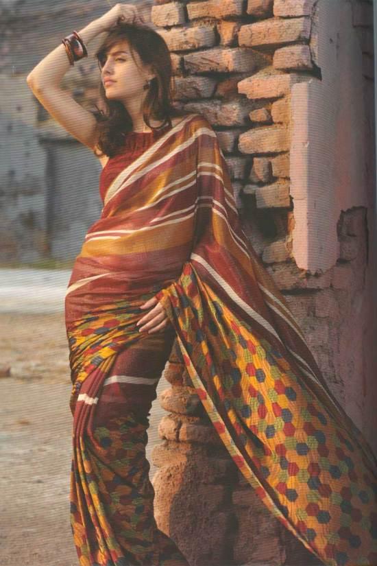 Pure georgette digital printed saree in russet brown color
