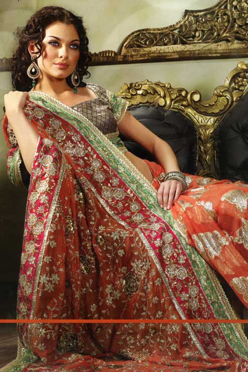 saree design 2010 tomato red color