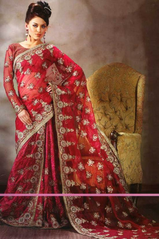 saree design 2010 maroon crepe lehenga style saree