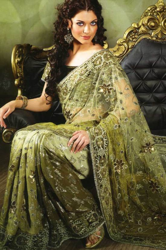 designer saree 2010 olive green and pear green color