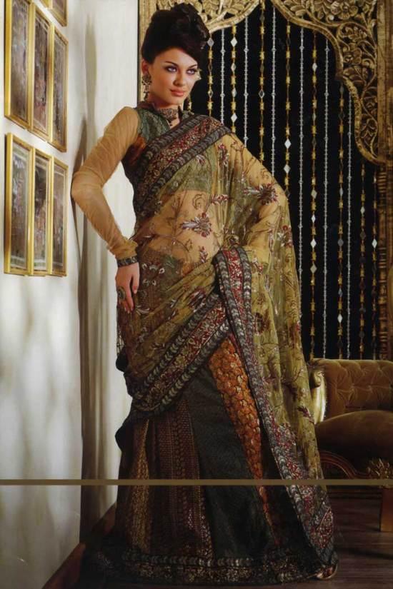 saree design 2010 beige crepe lehenga style saree