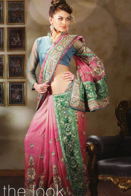 latest saree design 2010 embroidered wedding saree