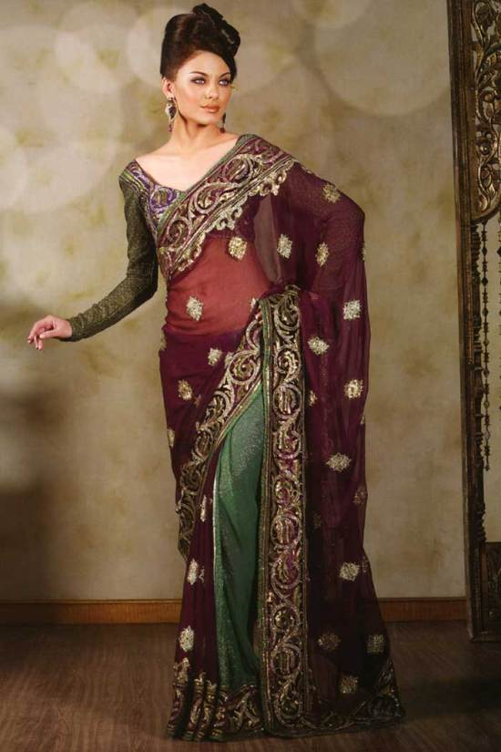 2010 saree designs in shimmer georgette fabric