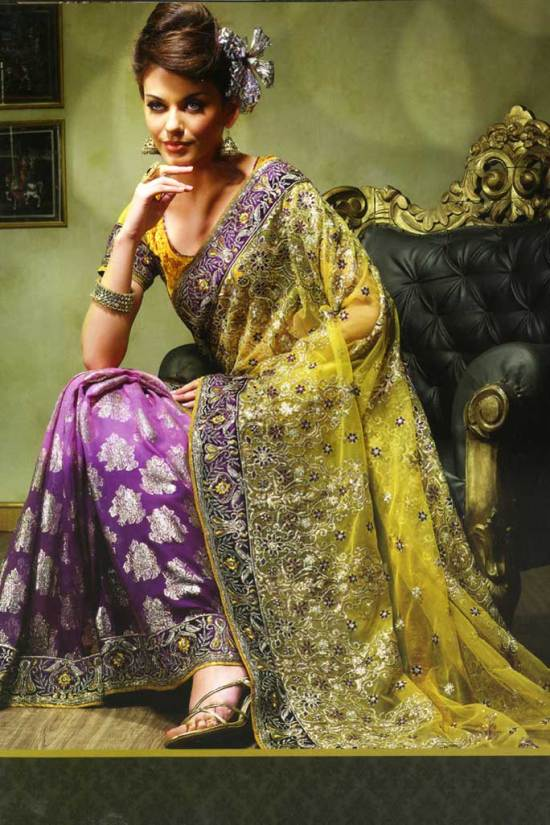 net saree design 2010 in purple and yellow color