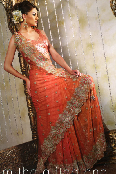 top saree design 2010 in orange color with embroidery work