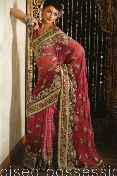 heavy border saree designs 2010 in pink georgette