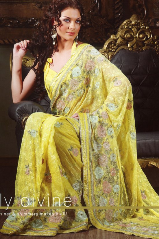 embroidered saree design 2010 yellow color