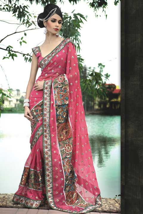 Latest Deep Pink Saree Fashion Design 2010
