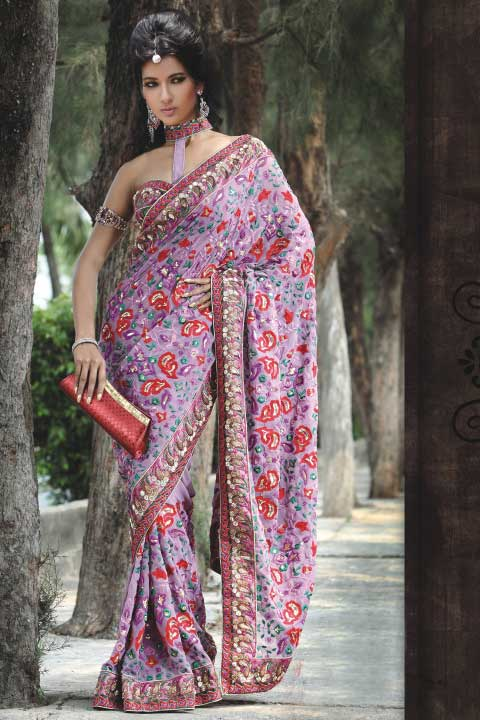 Latest Saree Design in Deep Mauve Color