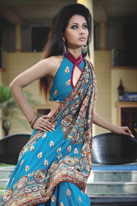 Latest Blue Embroidered Georgette Saree