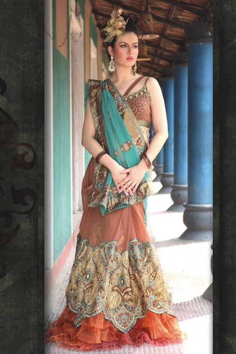 Latest Lehenga Style Saree Fashion