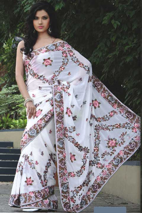 Latest Embroidered White Georgette Wedding Saree