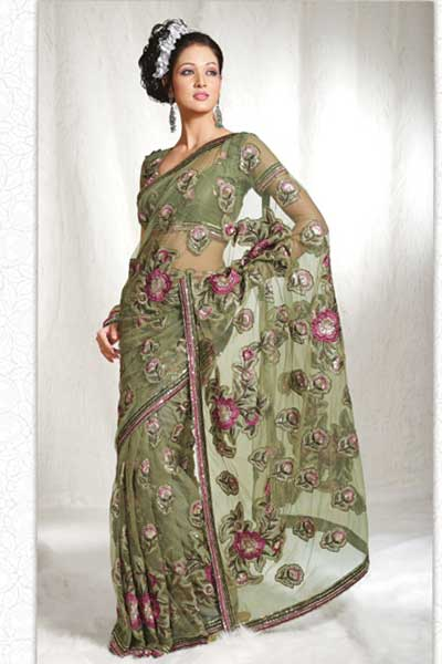 Latest Green Designer Embroidery Saree